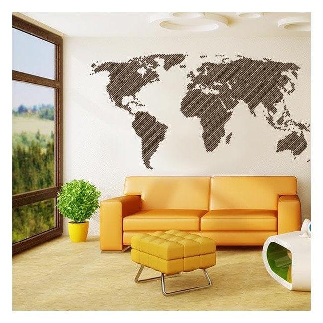 lignes de carte pour le monde d coratif adh sif vinyle. Black Bedroom Furniture Sets. Home Design Ideas