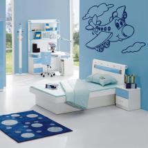 Avion décorative de vinyle dans les nuages