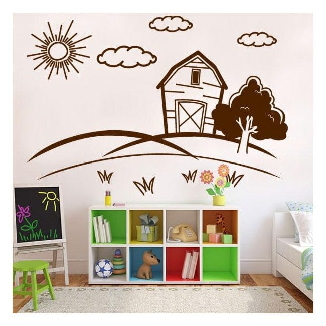 Paysage de vinyle décoratif enfant