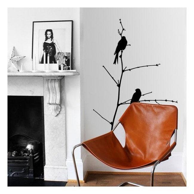 Oiseaux décoratifs en vinyle sur branche