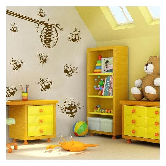 Nid d'abeilles et les abeilles de vinyle décoratif