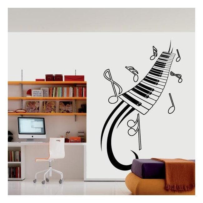 Vinyle décoratif notes de Piano et de musique