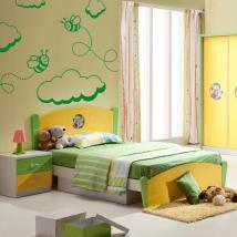Décoration murs abeilles et nuages