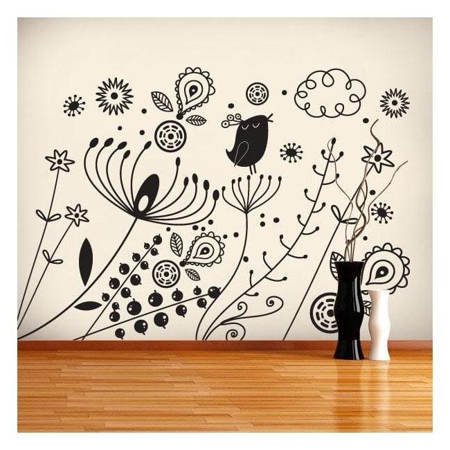 Autocollant mural art Floral