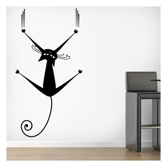 Chat décoratif vinyl sur le mur