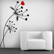 Fleurs coeur vinyle décoratif