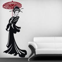 Silhouette femme japonaise vinyle décoratif