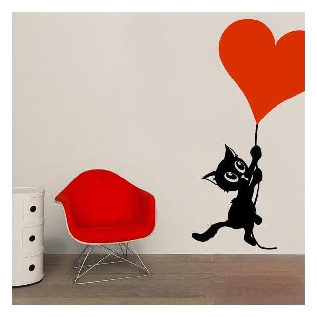 Décorez le chat romantique de murs