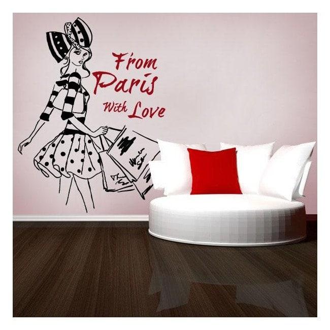 Femme vinyle décoratif illustration Paris à main levée
