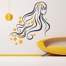 Femme de printemps silhouette décorative vinyle