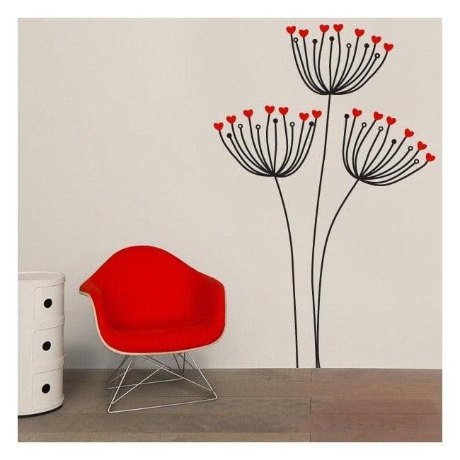 Coeurs de fleurs décoratifs vinyle
