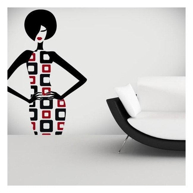 Retro femme de vinyle décoratif mur