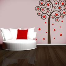 Arbre décoratif de vinyle de coeurs