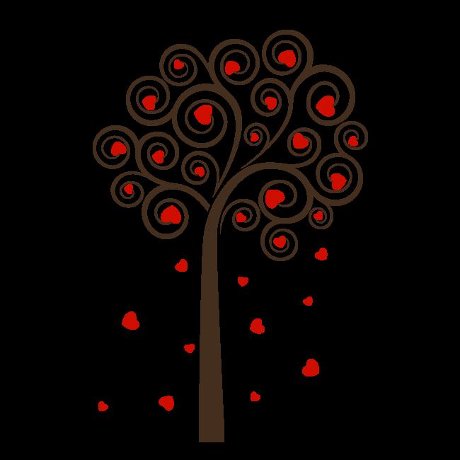 Arbre décoratif de vinyle de coeurs on