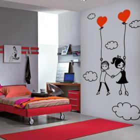 Panneaux luminescents divisant fluowall amour romantique dans les nuages