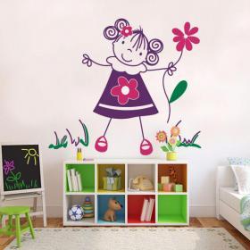 Fille de vinyle décoratif pour enfants avec des fleurs