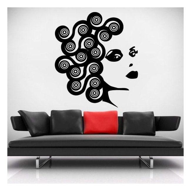 Face de mur décoratif vinyl femme