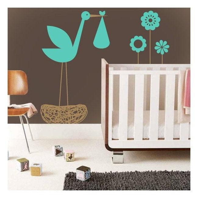 Vinyle décoratif pour enfants cigogne