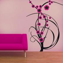 Fleurs de couleur de vinyle décoratif