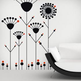 Murs de vinyle décoratif fleurs Pop