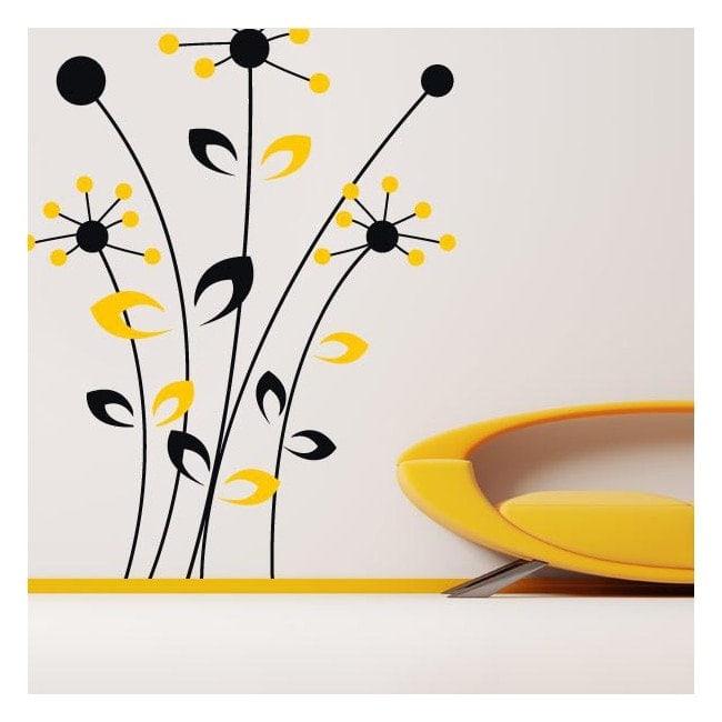 Vinyle d coratif mural fleurs bicolore for Autocollant dcoratif mural