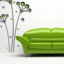 Fleurs décoratives vinyle rétro cercles