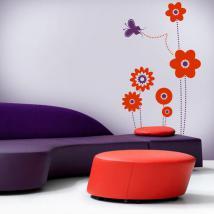 Fleurs de vinyl décoratif et papillon