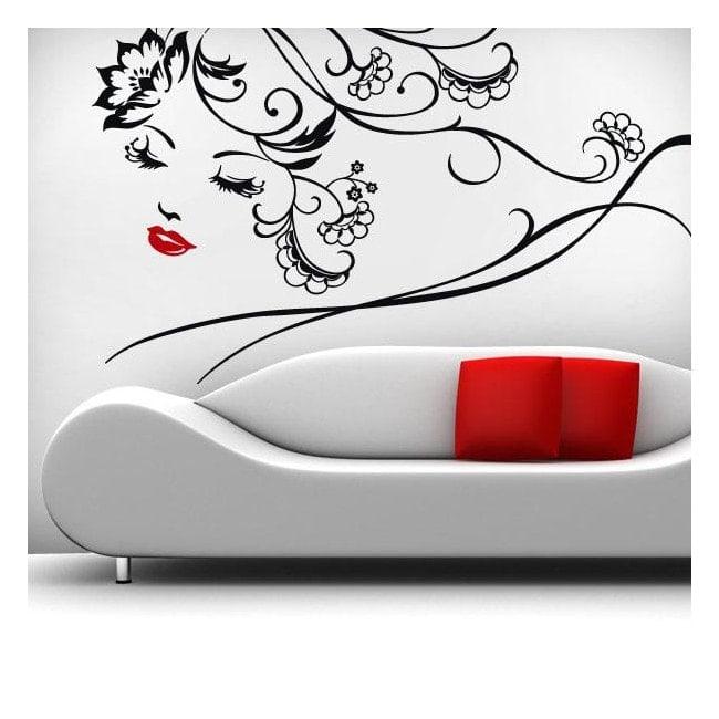 Femme Floral de vinyle décoratif mur