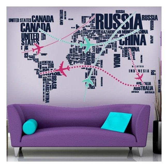 Itinéraires de monde décoratif de vinyle