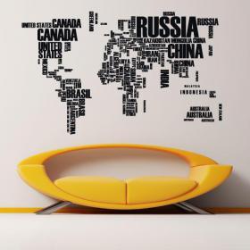 Textes de carte monde vinyle décoratif