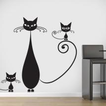 Vinyl décoratif famille de chats French 729