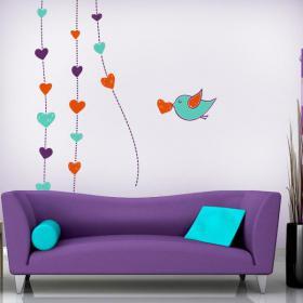 Cœur romantique de murs décoratifs en vinyle