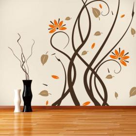 Fleurs multicolore de murs décoratifs en vinyle