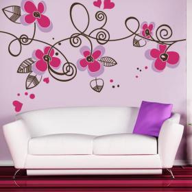 Fleurs et coeurs décoratifs vinyle