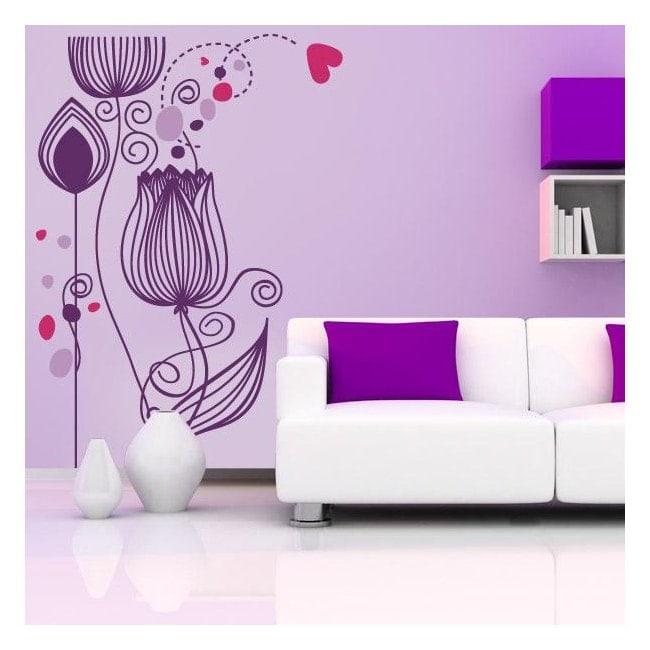 Fleurs décoratives de vinyle du coeur French 758