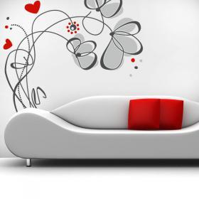 Vinyle décoratif fleurs amour