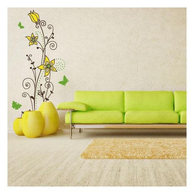 Autocollants de mur de fleurs couleur