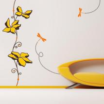 Libellules et fleurs mural décoratif de vinyle