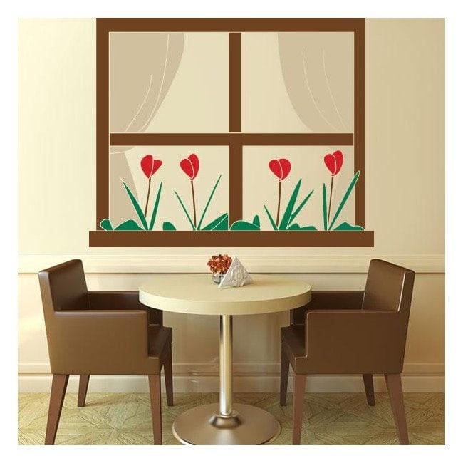 Fenêtre de vinyle décoratif avec des fleurs French 791