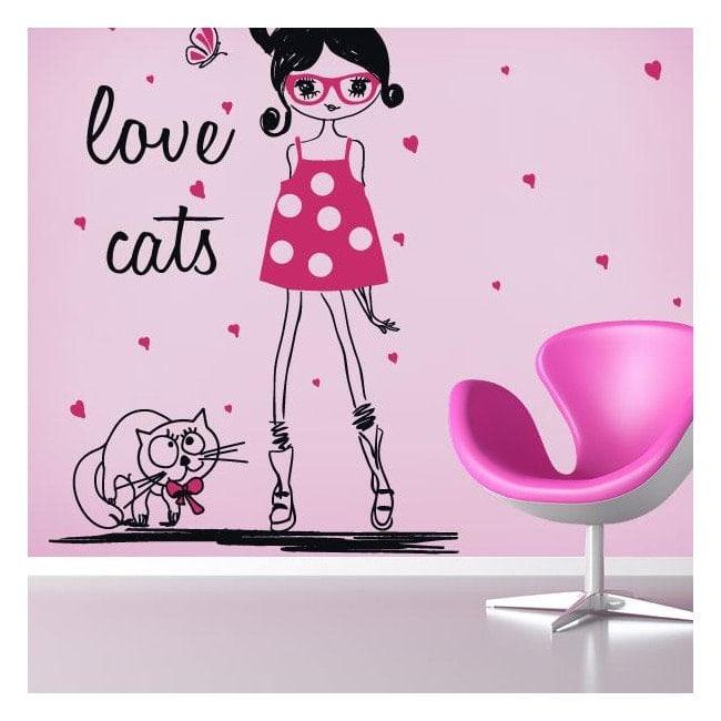Vinyle silhouette femme Love Cats