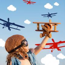 Pour enfants en vinyle avions et nuages