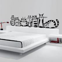 Vinyl décoratif famille de chats French 871