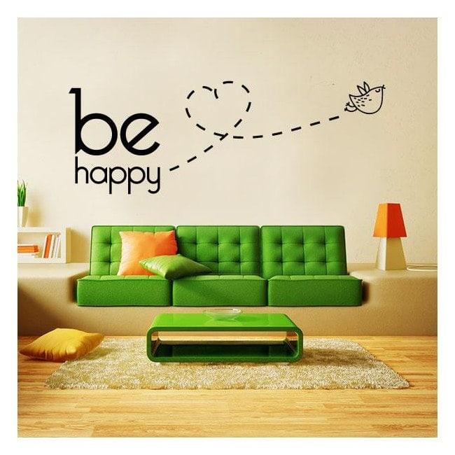 Textes de vinyle décoratif et phrases Be Happy