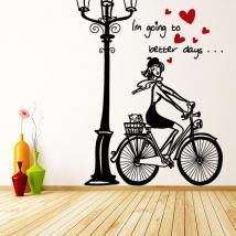 Vélo de femme romantique de vinyle décoratif French 913