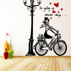 Vélo de femme romantique de vinyle décoratif