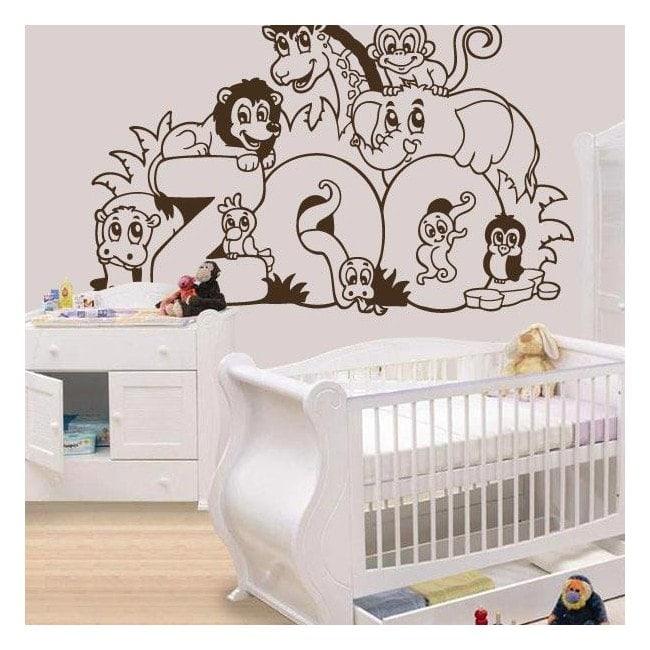 Animaux de Zoo pour enfants en vinyle décoratif