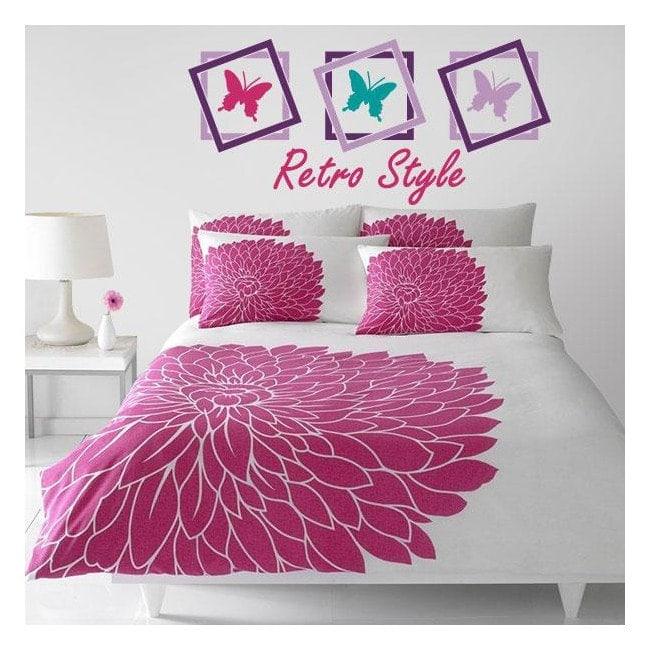 lit de papillon retro vinyle d coratif t tes de lit. Black Bedroom Furniture Sets. Home Design Ideas