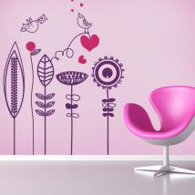 Vinyle décoratif fleurs et oiseaux romantiques
