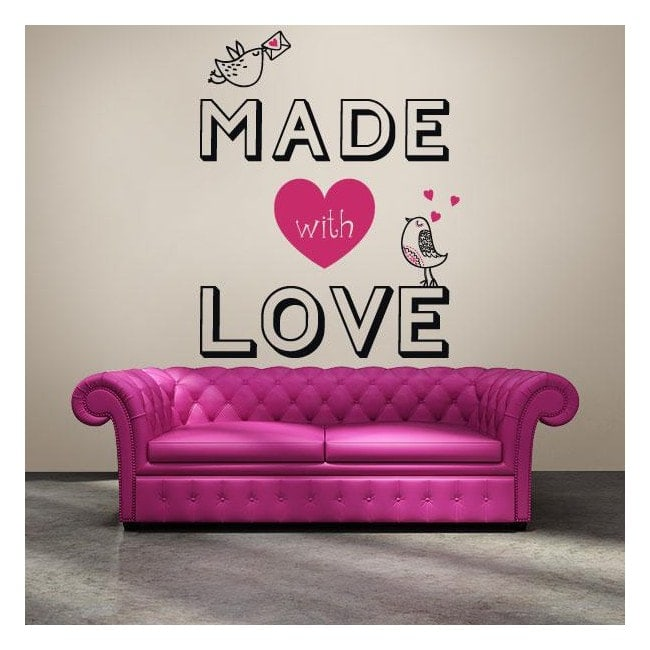 Panneaux luminescents divisant fluowall texte romantique Made With Love
