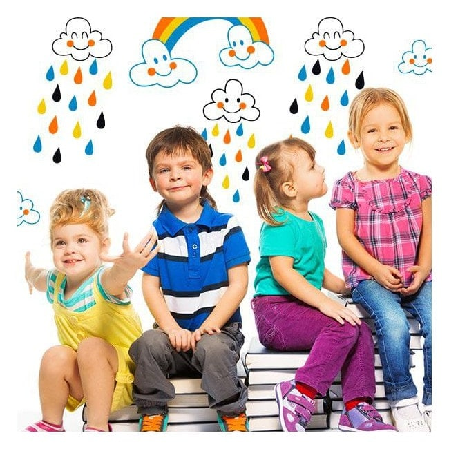 Pour enfants en vinyle nuages et pluie de couleurs